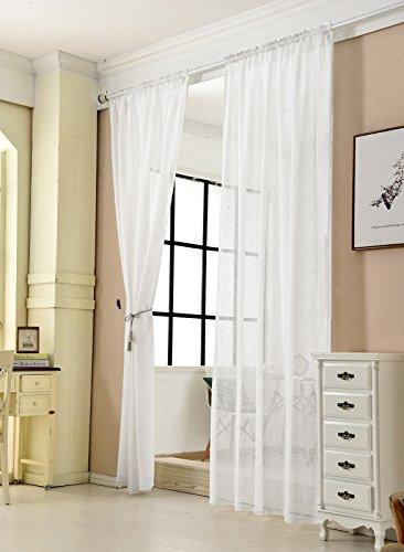 WOLTU VH5860ws-2, 2er Set Gardinen Transparent mit Kräuselband Leinen Optik, Doppelpack Vorhang Stores Voile Fensterschal Dekoschal für Wohnzimmer Kinderzimmer Schlafzimmer, 140x225 cm, Weiß
