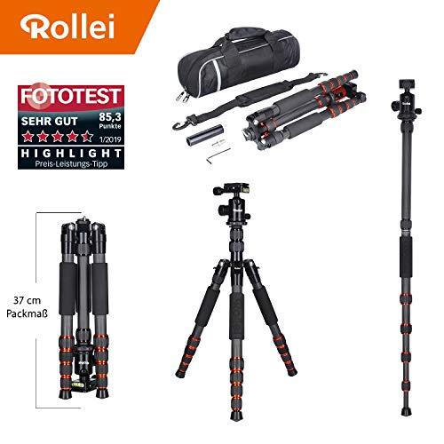 Rollei leichtes Reisestativ Traveler aus Carbon in Schwarz mit Kugelkopf - kompatibel mit DSLR & DSLM Kameras - inkl Einbeinstativ, Arca Swiss Schnellwechselplatte & Stativtasche