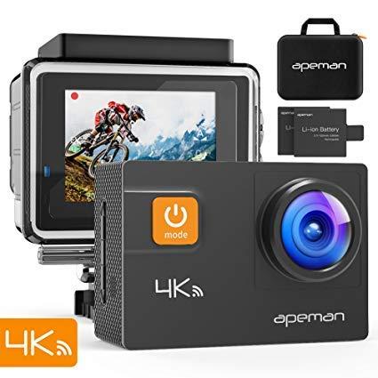 APEMAN A80 Action Cam 4K WiFi 20MP EIS Unterwasserkamera 40M Wasserdicht, mit Transportskoffer und 24 Multiples Zubehör