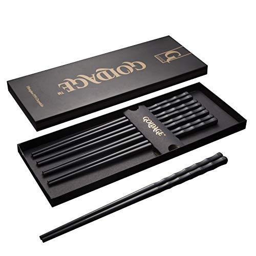 Goldage 5 Paar Essstäbchen aus Fiberglas, spülmaschinenfest (Japanischer Minimalismus - Immergrüner Bambus)