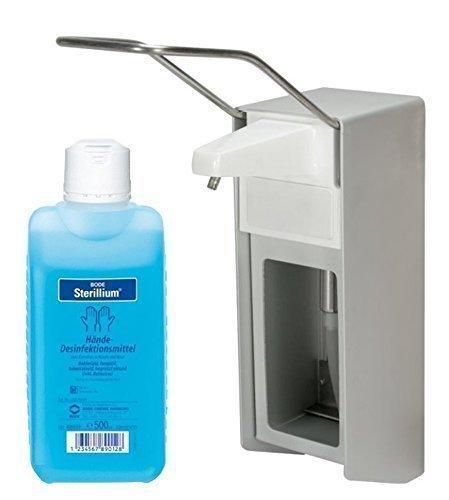 500 ml Wandspender Aluminium gebürstet von Medi-INN Wandhalter + Zubehör Auswahl Sterillium (Spender+Sterillium)