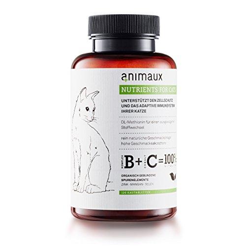 animaux – nutrients for cats   Katzen-Vitamine zur Unterstützung des Immunsystems   Zink, Mangan, Selen, DL-Methionin   Unterstützt gesunde Haut und ein glattes, glänzendes Fell   120 Tabs
