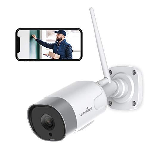 Wansview Überwachungskamera Aussen,WLAN IP Kamera 1080P WiFi IP66 wasserdichte Sicherheitskamera mit Bewegungserkennung, Zwei-Wege-Audio, Micro SD Kartenslot, ONVIF und Arbeitet mit Alexa W5