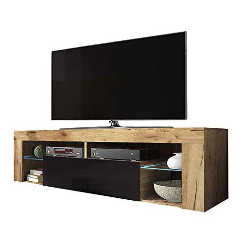 Selsey Hugo - TV-Lowboard/TV-Schrank in Holz-Optik Lancaster Eiche mit Klappe in Schwarz Hochglanz mit LED-Beleuchtung Stehend 140cm