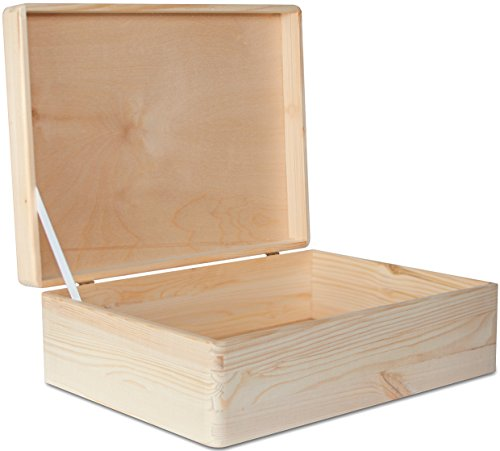 XL Große Holzkiste Aufbewahrungsbox Holzbox Kiste mit Deckel - 40 x 30 x 14 cm - Unlackiert Hölzernen Kasten - ohne Griffen - Ideal für Dokumente, Wertsachen, Spielzeuge und Werkzeuge
