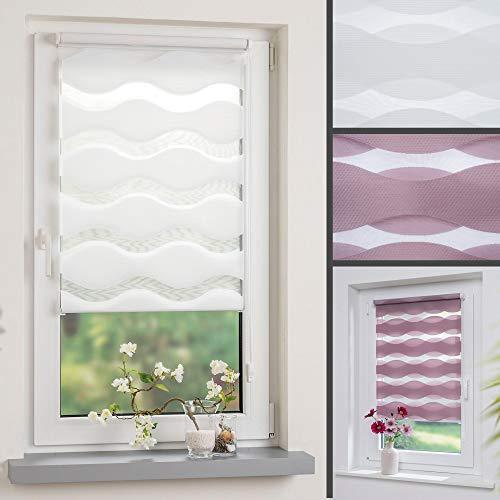 DECOLIA Duorollo/Doppelrollo im Wellendesign mit verstellbaren Klemmträgern, Breite: 60 cm/Länge: 150 cm, Farbe: weiß