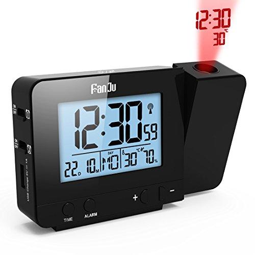 FanJu FJ3531 Digital Projektionswecker mit Temperatur und Zeit-Projektion / USB-Ladegeräte / Innentemperatur und Luftfeuchtigkeit / DCF automatische Zeitanpassung / Kalender / Doppel Alarme mit Snooze-Funktion.