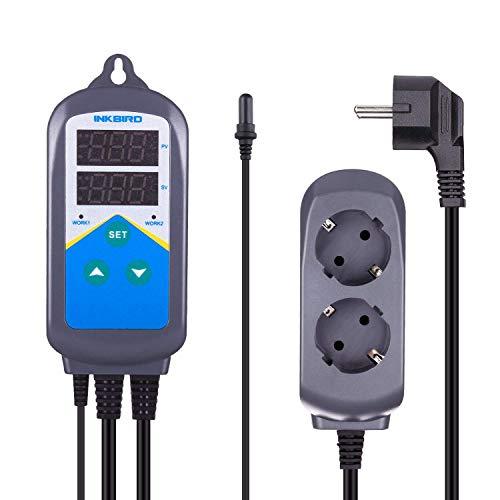 Inkbird Aquarium ITC-306T Thermostat Steckdose 220V, wasserdichte Kunststoff Sonde mit Saugnapf für Salzwasser Fisch