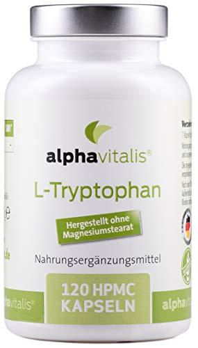 EINFÜHRUNGSPREIS - L-Tryptophan Kapseln - 500mg je Tagesdosis - 120 Kapseln - vegan und ohne Magnesiumstearat - Vorstufe von Serotonin und Melatonin
