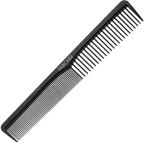 Carbon Kamm Antistatisch für Haare und Bart (18 cm) - Bruchfester Haarkamm aus hochfestem Carbon-Kunststoff - Haarschneidekamm und Bartkamm für Friseure