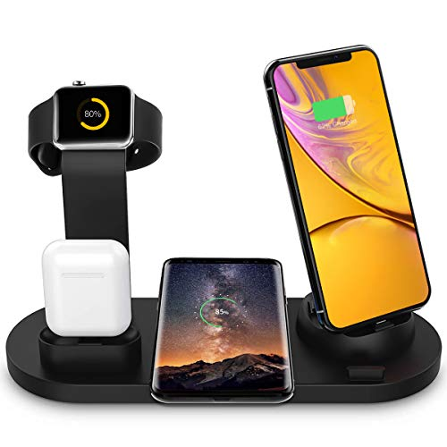 Bestrans Wireless Charger, 6 in 1 Charge Ständer für Apple Watch, Airpods und Smartphone, Fast Qi Ladestation für iPhone XR/XS/Xs Max/X/8 Plus/8 Samsung Galaxy Huawei Xiaomi etc (Schwarz)