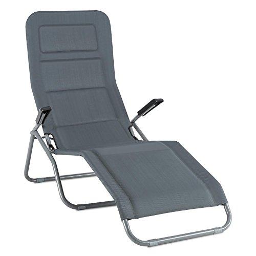 blumfeldt Vitello Noble Grey Liegestuhl • 2-er Set • Sonnenliege • gepolsterte Bäderliege • Quick Dry Foam • ergonomisch • klappbar • witterungsbeständige Pulverbeschichtung • bis 150 kg • grau