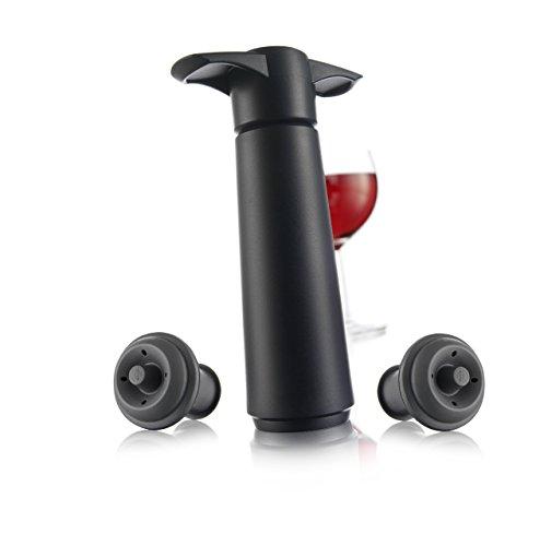 Vacu Vin 09814606 Weinpumpe schwarz mit 2 Stopfen