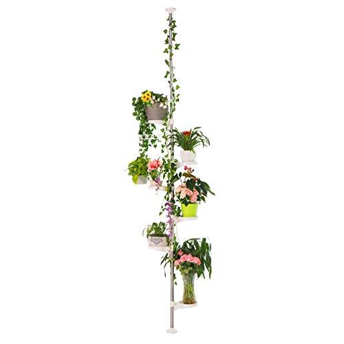 Baoyouni 7-Schicht Blumentreppe Teleskop Pflanzenständer Indoor-Anlage Steht Federspannung Pole Metall Blume Display Rack Space Saver Corner Floral Topf Aufhänger Regal Blumenregal, Elfenbein
