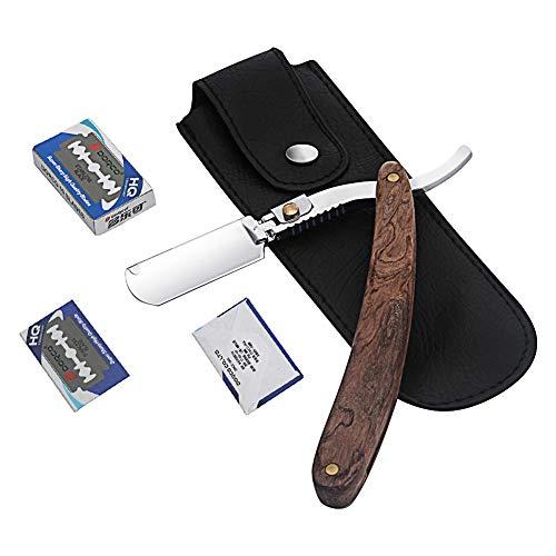 Wskderliner Präzises Premium-Rasiermesser + Hochwertige PU-Ledertasche + Ersatzklingen(10pcs) Shaving Artist Handgefertigtes Rasiermesser mit Weinroter Holzgriff