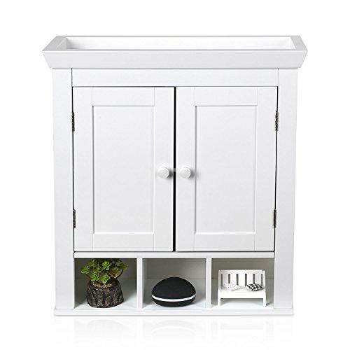 HOMFA Landhaus Hängeschrank Wandschrank Badschrank Küchenschrank Medizinschrank Wandboard Regal Weiß 61x21.5x57cm (Hängeschrank Weiß mit Abteil)