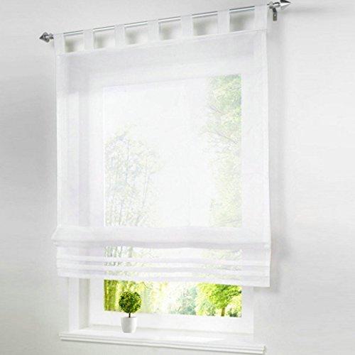 1er-Pack Raffrollo mit Schlaufen Gardinen Voile Transparent Vorhang (BxH 60x155cm, weiß)