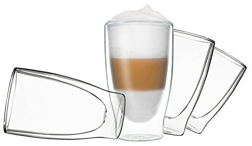 4x 400ml DUOS doppelwandige Gläser Cocktail Thermogläser - Set mit Schwebe-Effekt, auch für Latte Macchiato, Cappuchino, Tee, Eistee, Säfte, Wasser, Cola, Cocktails geeignet, DUOS by Feelino …