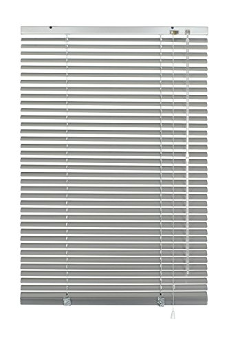 GARDINIA Alu-Jalousie, Sicht-, Licht- und Blendschutz, Wand- und Deckenmontage, Alle Montage-Teile inklusive, Aluminium-Jalousie, Silber, 80 x 130 cm (BxH)