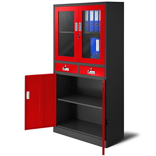 Aktenschrank C017 mit 2 Schubladen Medizinschrank Büroschrank 2 Abteile Pulverbeschichtung Stahlblech 185 cm x 90 cm x 40 cm (anthrazit/rot)