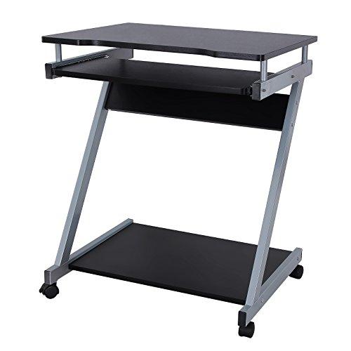 Songmics Schreibtisch Computertisch mit Rollen PC Tisch schwarz Z Form LCD811B