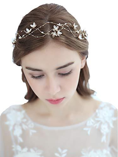 Lareina.C Braut Haarreif Perlen Blumen Hochzeit Haarschmuck Damen Kopfschmuck fur Ausführen Tanzparty (Perle Blume)