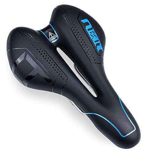 FOCHEA Fahrradsattel, Fahrrad Sattel Herren Damen Gepolsterter Memoryschaum Fahrradsitz Gel MTB Sattel Universelle Passform für Fahrrad, Mountainbike und die meisten Fahrräder (Blau)