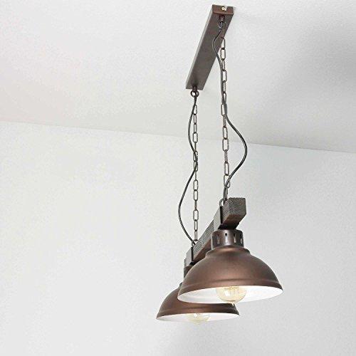 Geschmackvolle Hängeleuchte in Burgund Holzfarben Vintage Stil inkl. 2x 12W E27 LED 230V Pendelleuchte aus Metall & Holz Hängelampe für Wohnzimmer Esszimmer Lampe Leuchten innen