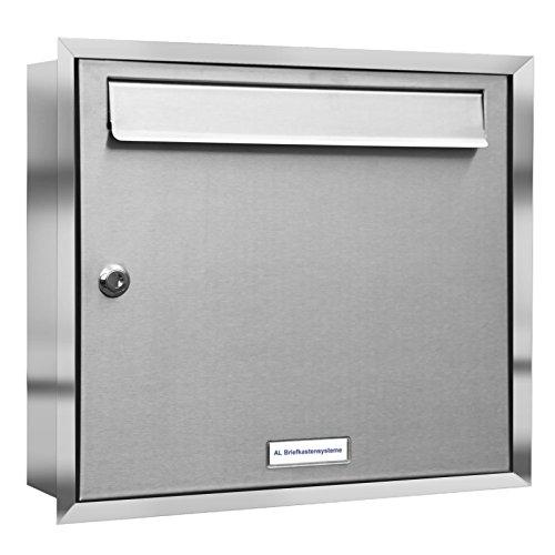 1er Premium Unterputz Edelstahl Briefkasten rostfrei wetterfest als 1 Fach Briefkastenanlage DIN A4 in Postkasten Design modern Post Stehend