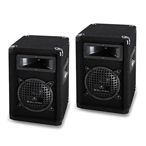 Paar Malone PW0622 passiv PA-Lautsprecher Beschallungstechnik 3-Wege PA-Boxen mit Subwoofer (16,5cm (6,5'), 500W, Klinke/Schraubklemme)