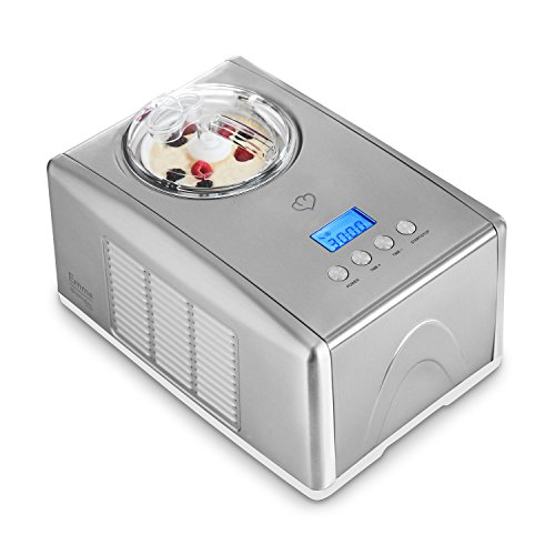 Eismaschine Emma 1,5 L mit selbstkühlendem Kompressor 150 Watt von Springlane Kitchen Ice-Cream-Maker aus Edelstahl mit Abschaltautomatik, entnehmbarem Eisbehälter, Antihaftversiegelung & LCD Display