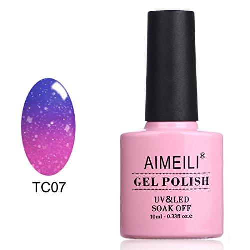 AIMEILI UV LED Nagellack Thermo Gellack Temperatur Farbwechsel Gel Nagellack Glitzer Gel Polish - Aqua Mist (TC07) 10ml
