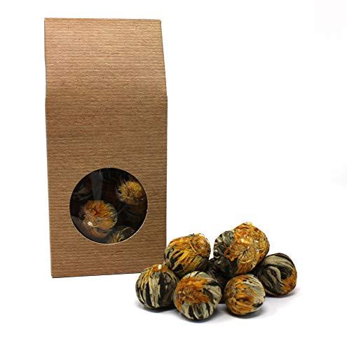 10 x Teeblume / Teerose - 'White Fortune Balls' - Weißer Tee und Ringelblumenblüten