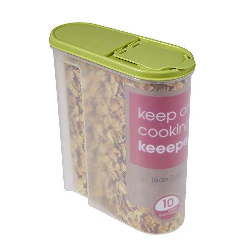 keeeper Schüttdose für Trockenvorräte, Aufklappbarer Deckel, BPA-freier Kunststoff, 2,6 l, 21,5 x 9,5 x 24 cm, Jean, Grün