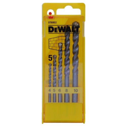 DeWalt Steinbohrer (Rundschaft- Set in Kunststoff-Kasette, fünf-tlg., 4, 5, 6, 8, 10 mm Ø) DT6952