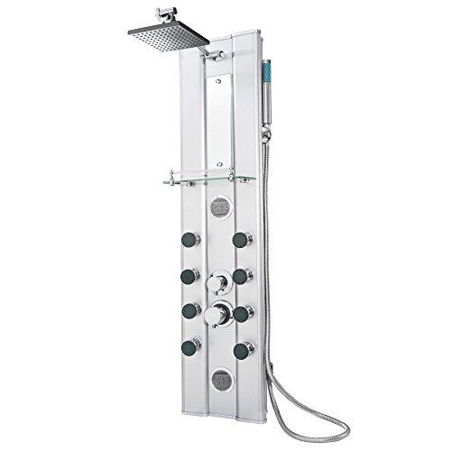 TecTake 402117 - Duschpaneel aus Aluminium mit 10 Massagejets, Düsen sind selbstentkalkend, Einfache Montage
