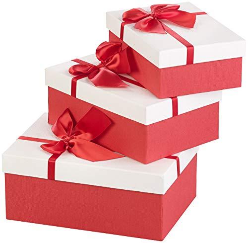 Your Design Geschenkbox: 3er-Set edle Geschenk-Boxen mit roter Schleife, 3 Verschiedene Größen (Geschenkverpackung Hochzeit)