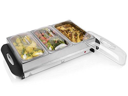 Sänger Buffetwärmer 300 W aus Edelstahl   Speisewärmer mit 3 Kammern á 2,4 L   elektrische Warmhalteplatte mit stufenloser Temperatureinstellung