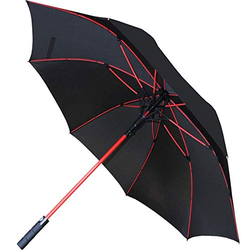 COLLAR AND CUFFS LONDON - 140 cm Bogen - Windproof - Verstärkte Fiberglasrippen in Rot - SEHR STARK - StormFighter Jumbo - Automatik - Fiberglas Regenschirm Stockschirm - Schwarz