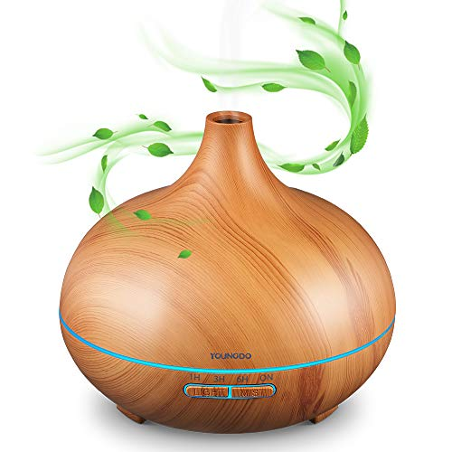 YOUNGDO Aroma Diffuser 500 ML, USB Diffusor Aromatherapie,Luftbefeuchter mit 7 Farben für Yoga, Salon, Wohn-, Schlaf-, Bade- oder Kinderzimmer, Hotel