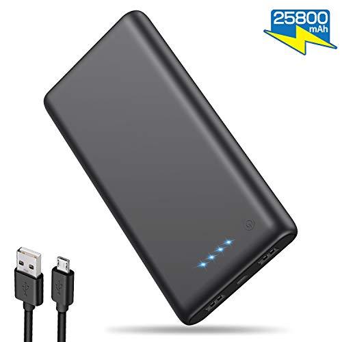 iposible Powerbank 25800 mAh,【Neuestes Modell】 Externer Akku Hohe Kapazitat Power Pack Ladegerät Dual Ports Output Akkupack für Handy, Tablette - Mattschwarz
