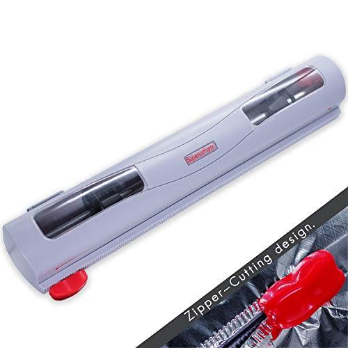 SuperiorParts Neuer Design Reißverschluss Folienschneider Frischhaltefolie Kunststoff Folie Folienspender Cling Film Cutter,Magnetic,Freier Installation,Einfach zu Handhaben,Ordentlich zu Schneiden