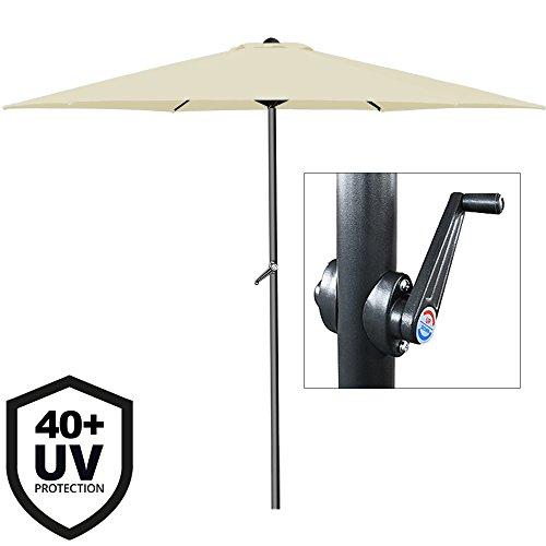 Deuba Sonnenschirm• Aluminium • Ø300cm • mit UV-Schutz 40+ • inkl. Kurbel + Dachhaube • mit Neigevorrichtung • beige - Kurbelsonnenschirm Marktschirm Gartenschirm