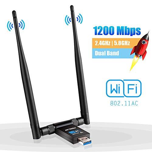 WLAN Stick Adapter WiFi USB PC Wireless Dongle Dual Band 2.4GHz/300Mbps 5GHz/867Mbps Dual 5dBi Antenne Netzwerk für Desktop Laptop Windows XP/Vista/7/8/10 Linux MAC OS