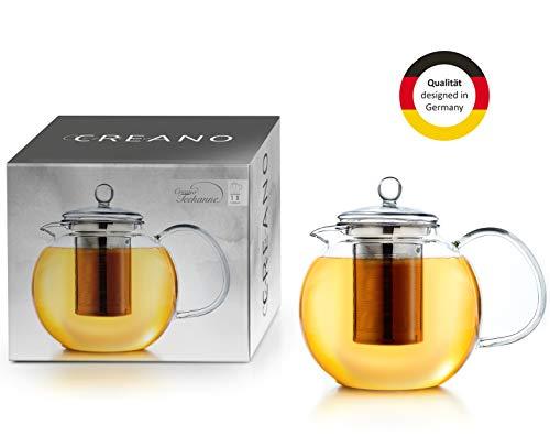 Creano Glas-Teekanne 1,3l 3-Teiliger Teebereiter mit Integriertem Edelstahl-Sieb und Glas-Deckel, Ideal zur Zubereitung von Losen Tees, tropffrei, All-in-One ...