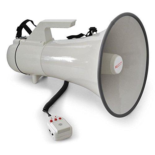 auna MEG1 • Megafon • Megaphone • Stimmenverstärker • 45 Watt Leistung • 1500 m Reichweite • Sirene • Handmikrofon • Aufnahmefunktion • Tragegurt • robustes Gehäuse • wetterfeste Bauweise • grau