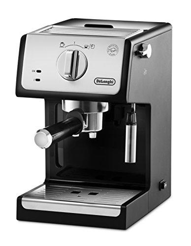 De'Longhi ECP 33.21 Espresso Siebträgermaschine   Siebträgerhalter mit Aluminium Finish   Milchschaum Düse   Filtereinsatz für 1 oder 2 Tassen Espresso   Auch für Pads Geeignet   Schwarz-Silber