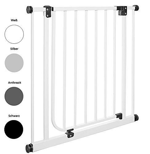 IMPAG Schutzgitter EASY STEP | 62 bis 222 cm | Treppenschutzgitter | Türschutzgitter | Absperrgitter | Klemmgitter | ohne Bohren | Automatik-Tür | 90° Feststell-Funktion | Öffnet in Laufrichtung (62 - 71 cm, Polar-Weiß)