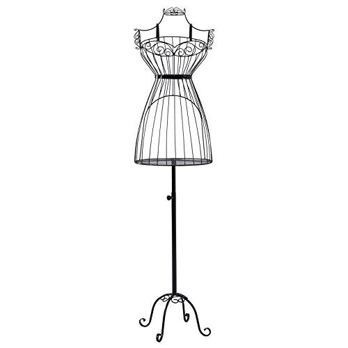Songmics Schneiderpuppe weiblich Schaufensterpuppe Damenbüste Schneiderbüste aus Metall HRA09B