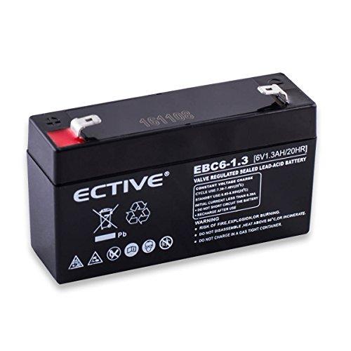 ECTIVE EBC-Serie | 6V 1,3Ah Bleiakku | 6 Varianten: 1,3Ah - 12Ah | 6 Volt AGM VRLA GEL Batterie zyklenfest | Wartungsfreier USV Bleigel Blei Akku